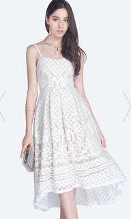 White lace hi low dress