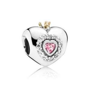 Pandora Pink Princess Heart Charm