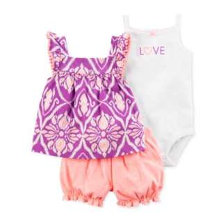 *24M* BN Carter's 3-Piece Bubble Short Set For Baby Girl