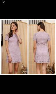 The Stage Walk SPRING LACE DROP WAIST DRESS IN LILAC