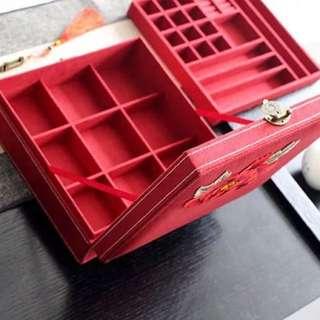 繡花首飾盒兩層連古代小鎖