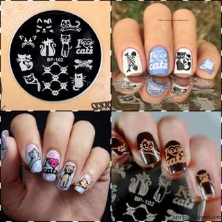 BORN PRETTY Nail Stamping Plates Round Cute Cats Nail Art Stamp Image Template Manicure Stencils Nail Decoration 5.5cm BP-102