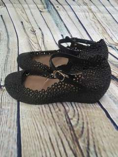 Wedges Jelly Shoes Hitam