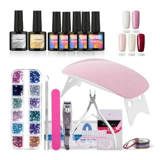 ROSALIND Nail Gel Soak-off Gel Polish Top & Base Coat Gel Nails Polish Kit Mini Lamp 5 colors Art Tools Kits Sets Manicure set