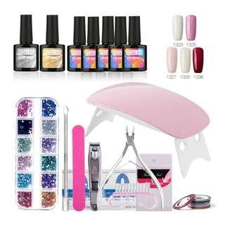 ROSALIND Nail Gel Soak-off Gel Polish Top & Base Coat Gel Nails Polish Kit Mini Lamp 5 colors Art Tools Kits Sets Manicure set