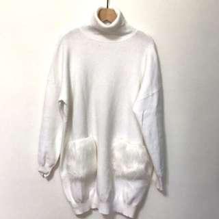 🚚 長版兔毛口袋針織毛衣