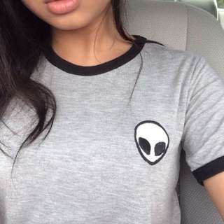 alien patch ringer crop top