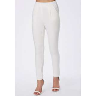 Tailored Crepe Trousers Pants White