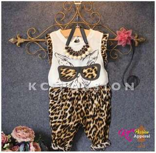 👧 GIRLS LEOPARD TOP n' PANTS Kids 2Pcs Outfit 2-6Y
