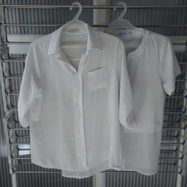 2 White office tops blouse