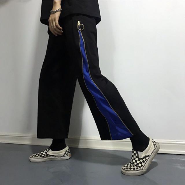 [全新]拼接側邊拉鍊原宿寬褲❤️
