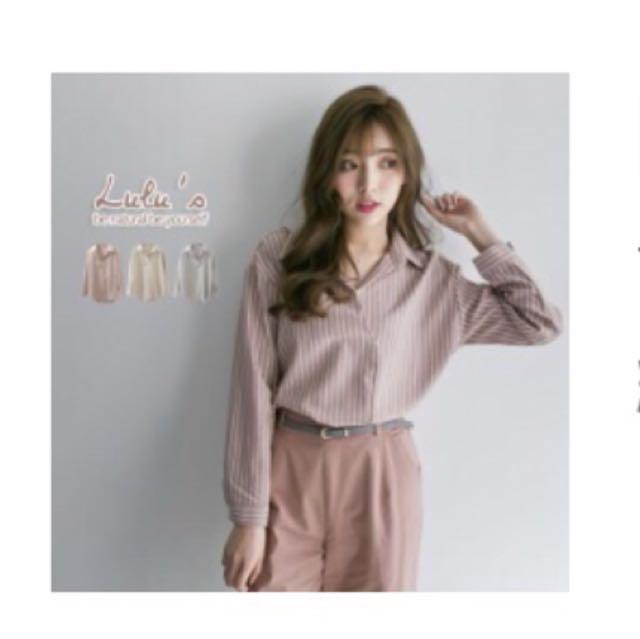 粉色開襟襯衫