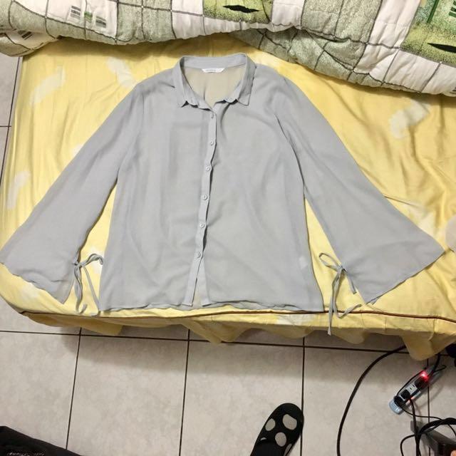 水袖雪紡透視襯衫