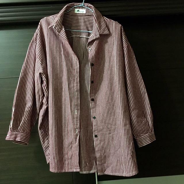 寬鬆厚襯衫外套