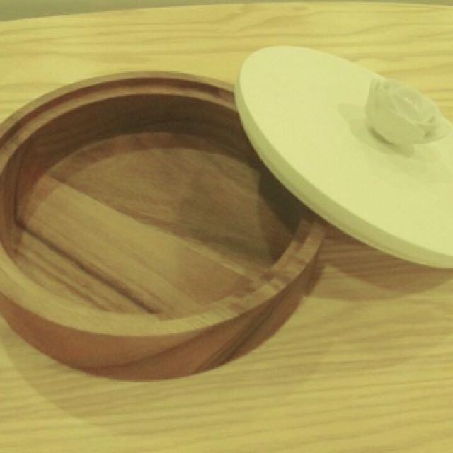 圓形白色大飾品盒/柚木/木製品