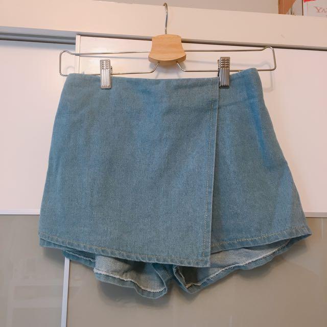 ㄧ片式設計牛仔褲裙