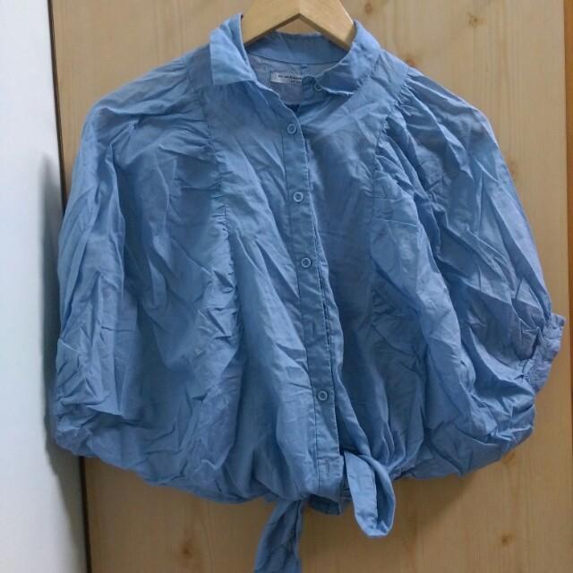 藍色造型綁帶襯衫