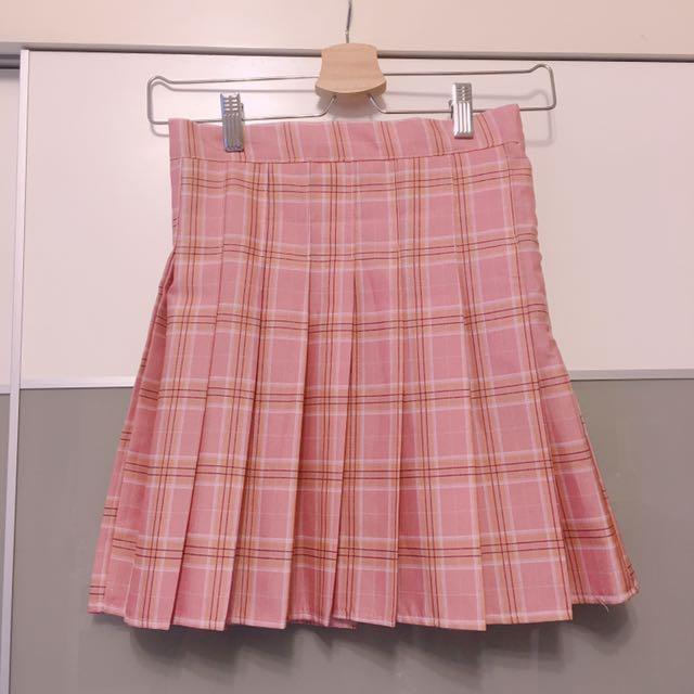 學院風百搭格紋裙 粉