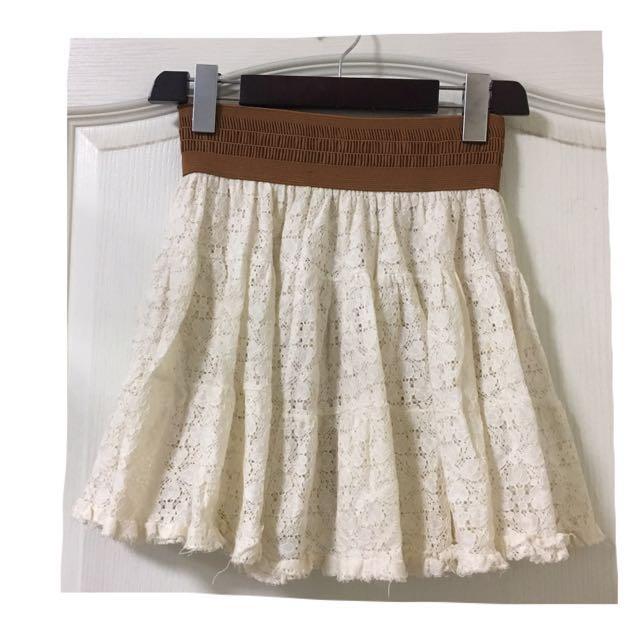 韓國帶回 森林系 米色蕾絲裙
