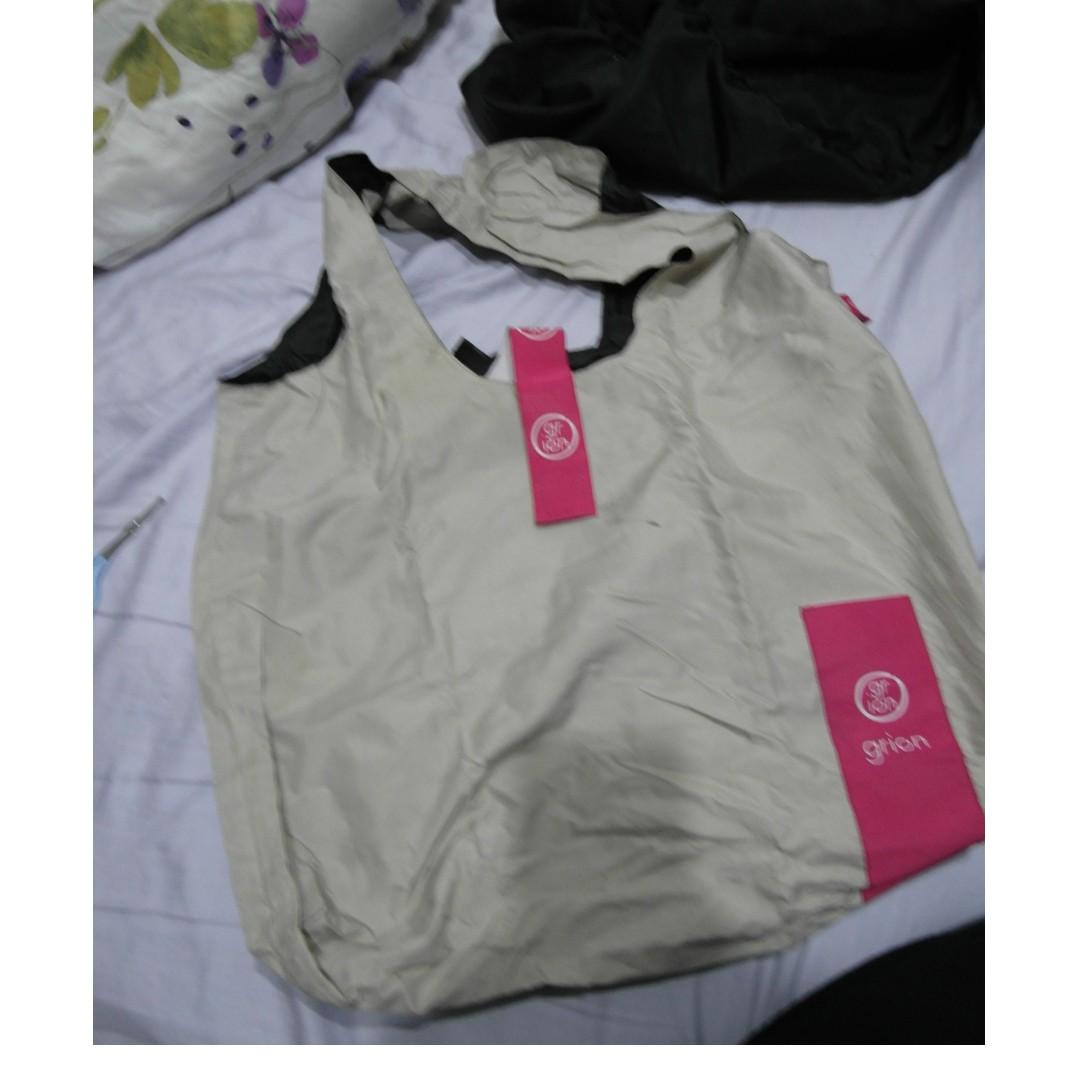 防水 可方便收納 米色購物袋