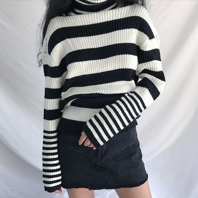 條紋 高領 毛衣