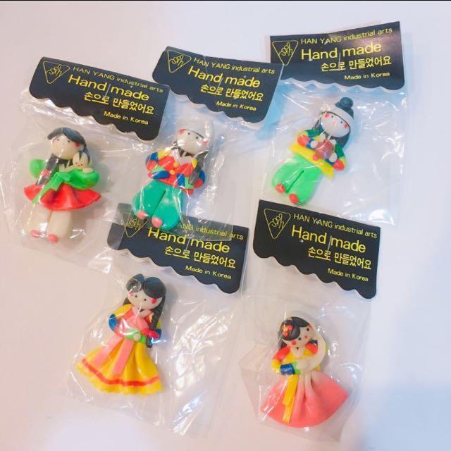 全新 韓國娃娃磁鐵 紀念品 (5個一起賣)
