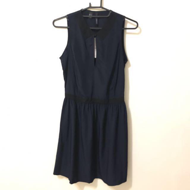 免運🎁全新 Mango深藍洋裝 S號