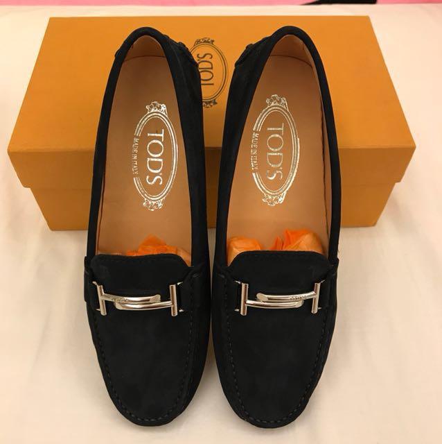 全新品 TOD'S 女 37號 深藍色 帆船鞋麂皮 豆豆鞋