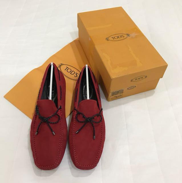 全新品 TOD'S 帆船鞋麂皮 豆豆鞋 男款 11號 紅色黑綁帶