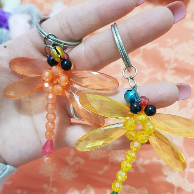 Adorable cute beaded dragonfly keychain charms