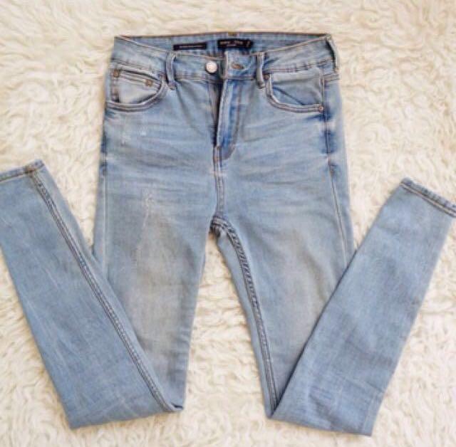BERSHKA Skinny Regular Waist Jeans