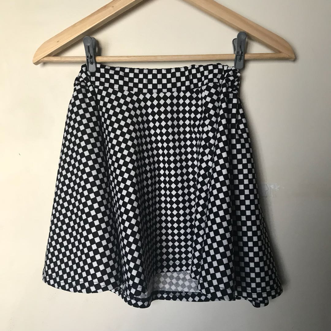 baa3486ad8 Black & White Checkered Plaid Skirt, Women's Fashion, Clothes ...