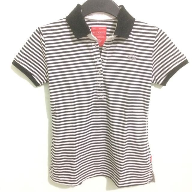 Black and White Stripes Polo Shirt