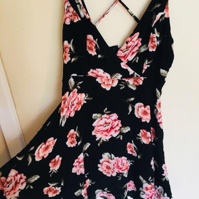 Black floral cross back dress