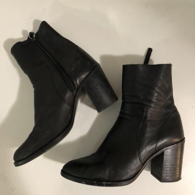 Black Leather Heel Sock Boot (Size 9)