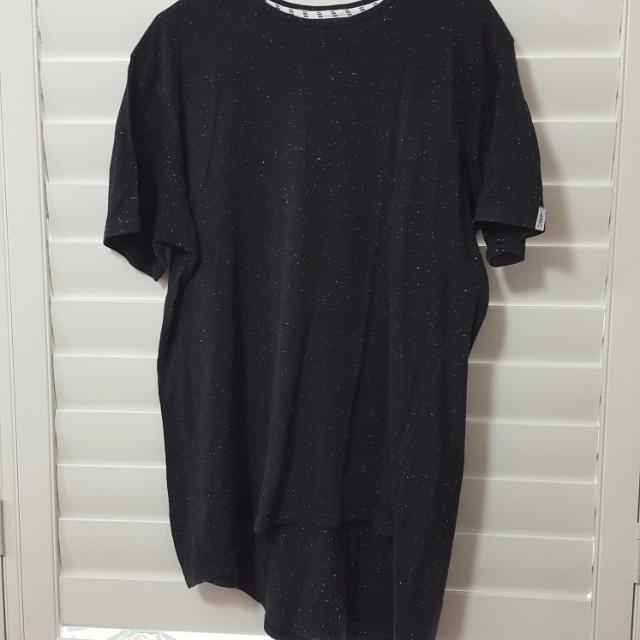 Black t-shirt with white splash design