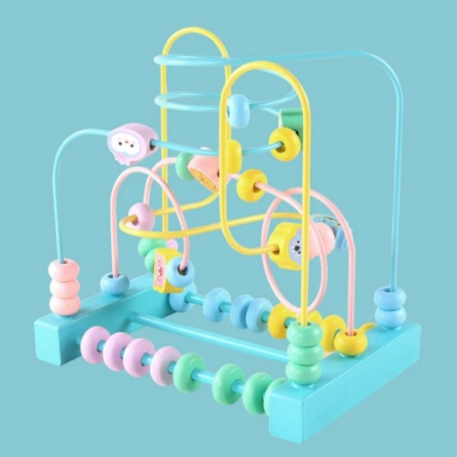 SOLD) BN Wooden Two or Three-Wire Counting Bead Maze Activity Toy ...