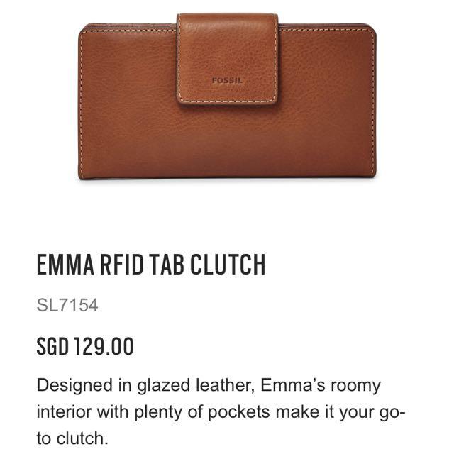 9e54058c17f2 Brand New Fossil Wallet Emma RFID Tab Clutch (Brown), Women's ...