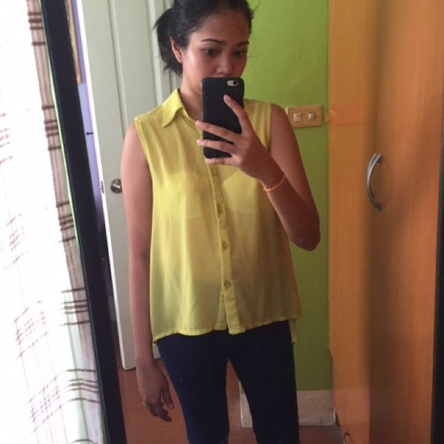 Bright Yellow See Through Top