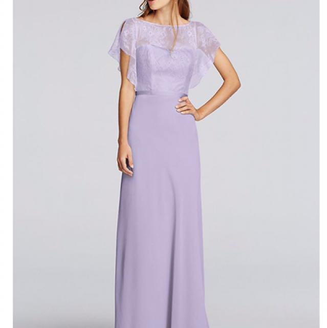 Chiffon dress with cascading lace sleeves by Jenny Packham
