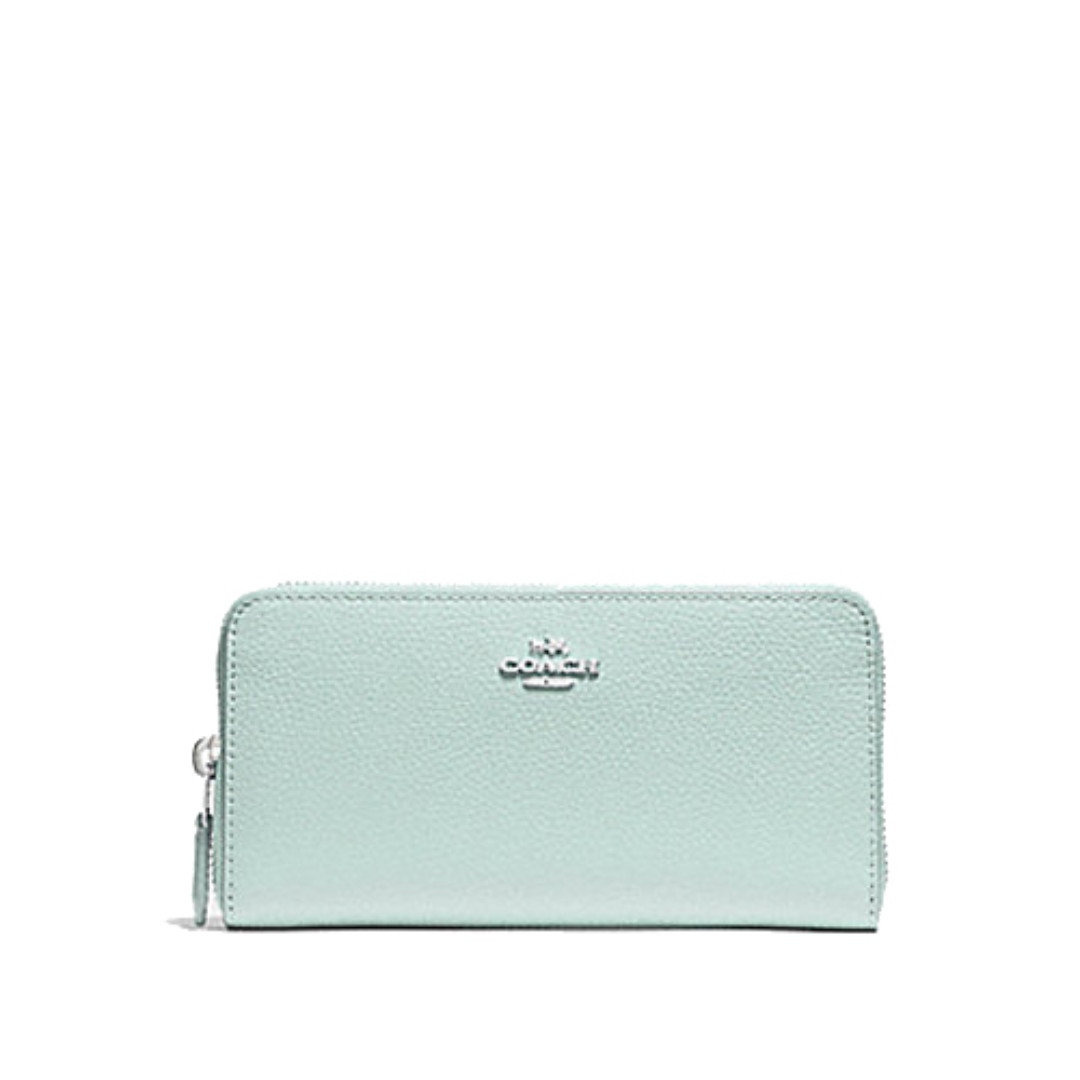 Coach Accordion Zip Around Wallet in Pebble Leather Sea Green