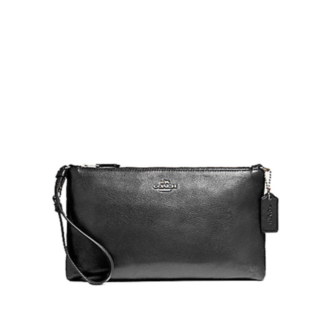 Coach Large Wristlet 25cm Shoulder Bag In Pebble Leather Black