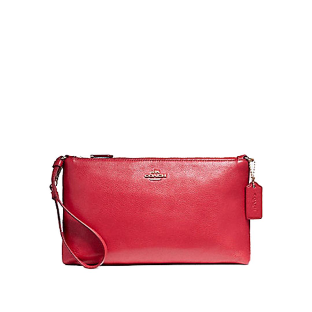 Coach Large Wristlet 25cm Shoulder Bag In Pebble Leather Red