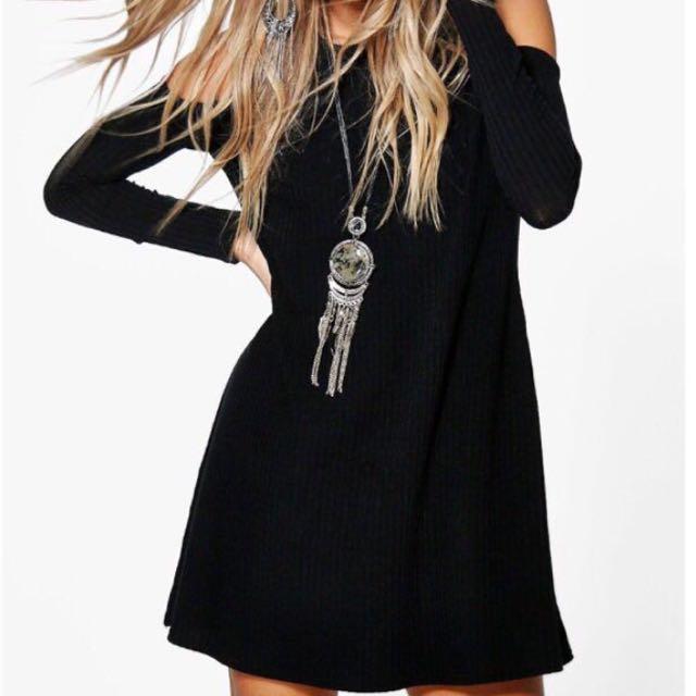 Cold Shoulder Ribbed Dress
