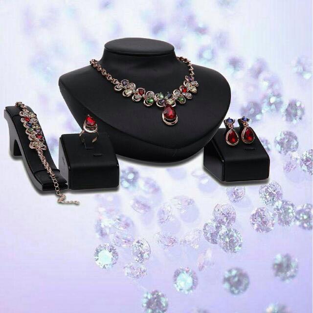 Colorful Gem Stones Necklace Earrings Bracelet Ring Set Accessories