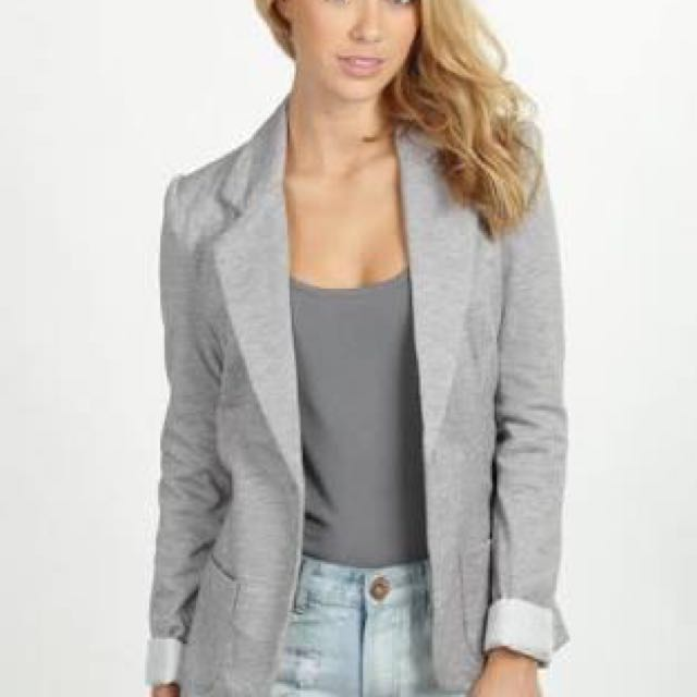 Cotton on outerwear jacket blazer in light grey gray xs extra small