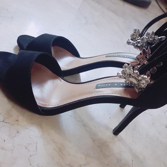 Embellished Ankle Strap Heels