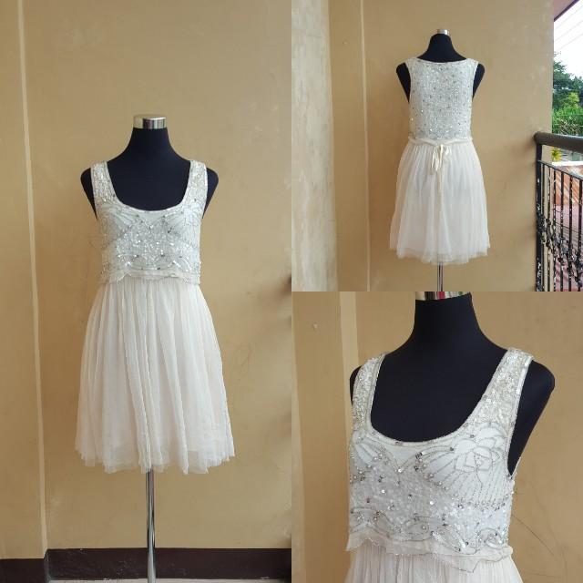 Forever New Maya mesh emblished dress