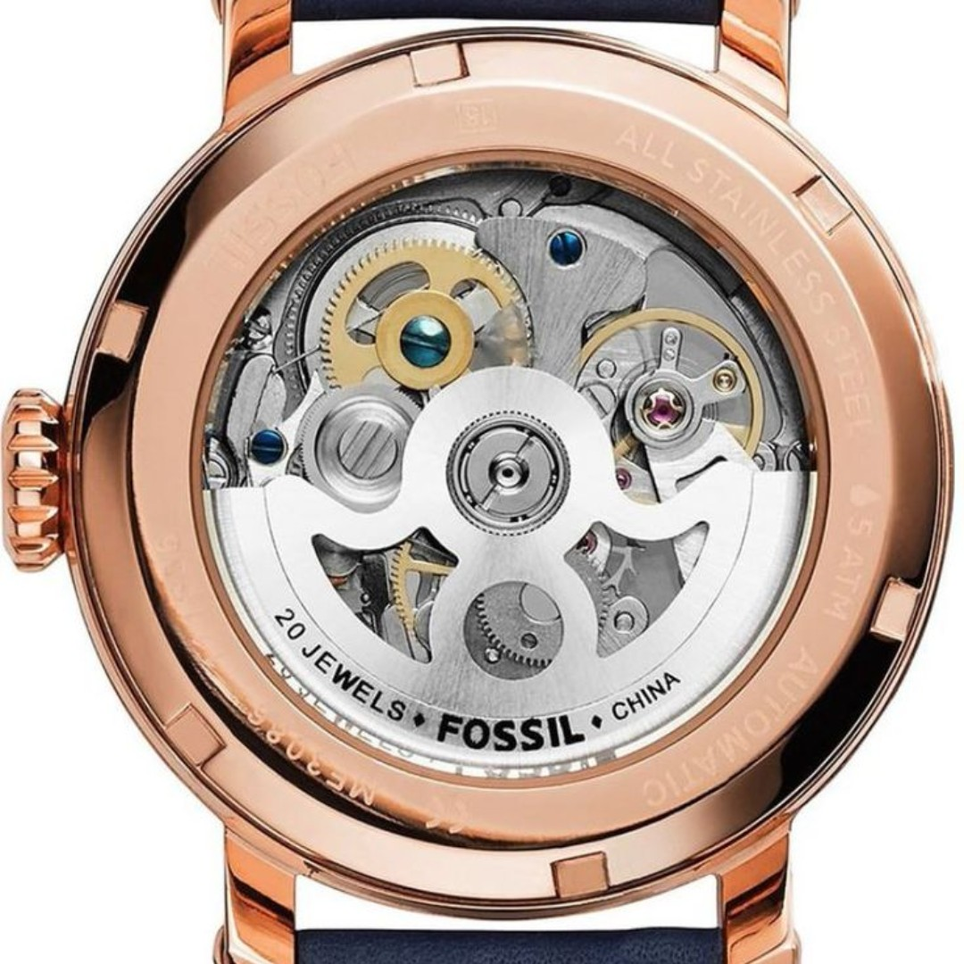 Fossil Jam Tangan Wanita Me3086 Original Boyfriend Automatic Es4093 Perfect Blue Womens Navy Leather Watch Fesyen Lelaki Di