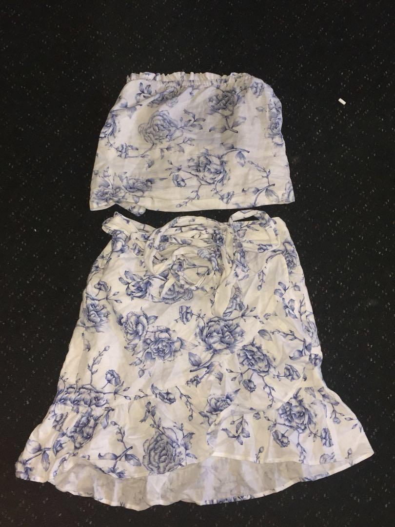 Glassons wrap skirt & top